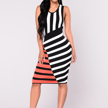 Cruella Striped Dress - Black Multi