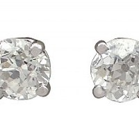 0.60 ct Diamond and Platinum Stud Earrings - Antique and Contemporary
