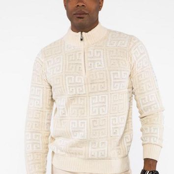 Prestige Greek Cream Half-Zip Sweater