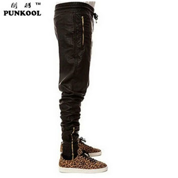 Slim Motorcycle Leather Pants Hiphop Trousers Jogger Pants