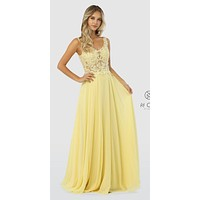Appliqued Illusion Bodice Long Prom Dress Lemon
