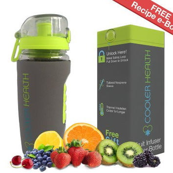 Fruit Infuser Water Bottle - FREE Infusion Recipe eBook & Anti Sweat Sleeve - 32oz - Full Starter Kit - BPA Free Plastic - Insulated - Best for Fruit Infused Water Travel Sport