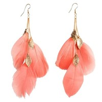 2013 Eroupe Fashion Jewelry Bohemian Style Three Long Feather Tassel Hoop Earring Leaf Clover Drop Dangle Party Holiday Decoration-watermelon red