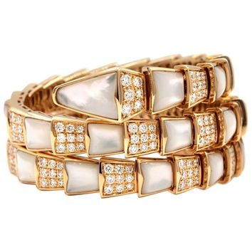 Bvlgari Serpenti one-coil 18K with Pave Diamonds and Mother of Pearl Bracelet