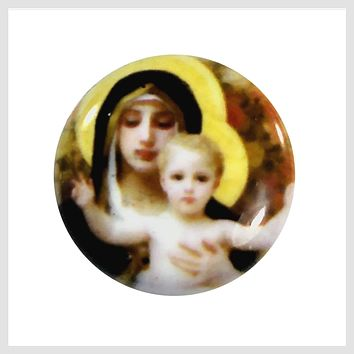 Painted Enamel Mary and Baby Jesus 20mm