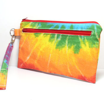 Tie Dye Wristlet - Yellow Green Aqua Red Orange - Zippered Bag - Holiday Gift - Clutch