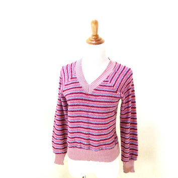 Vintage Fuzzy Pink Sweater / V neck Sweater / Metallic Sweater / Hipster Sweater / Oversize Sweater / Light Pink Stripes S / M