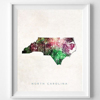North Carolina Map, Raleigh Poster, Painting, Watercolor, Nursery, Room, Home Town, Wall Art, USA, United States, Decor, Gift [NO 369]