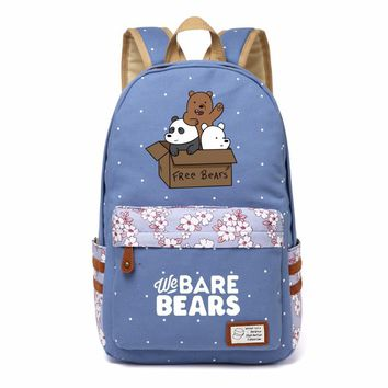 We Bare Bears cute Bear Canvas bag Flower  backpack  Girls women Student Children School Bags Cartoon  travel Shoulder Bag kids
