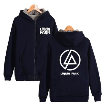 New Winter Jackets Coats Linkin Park Thick hoodie Zip-Up Hooded Sweatshirts Zipper Linkin Park Men  Warm ZIPER THICKEN Clothes