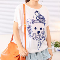 Spring Cute Teddy Print Loose Bat Sleeves Tee Multiple Colors