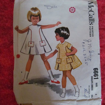 Spring Fever Sale 1960's McCall's Sewing Pattern, 6661! Size 5, Girls/Toddlers/Kids/Children, Child's Dress, Aline Style, Summer & Spring, C