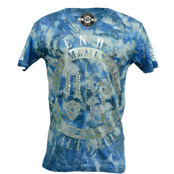 Rawyalty Couture Men's RC Legend Silver Foil Metallic Raindrop Blue T-Shirt