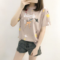 Dandeqi Harajuku Women's Cotton T shirt Kawaii Lovely Cartoon Deer Printed Girl Summer Tee Tops Clothing Drop Shipping