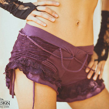 BLOOMERS BOOTY Shorts - Boho Hippie Pixie Tribal Burlesque Organic Mini Ruffle - Plum Purple - Small
