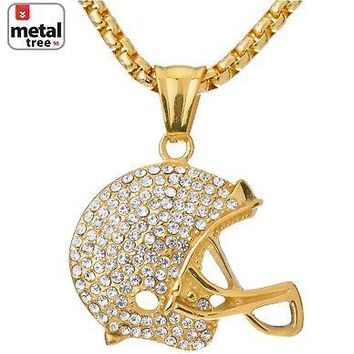Jewelry Kay style Men's Football Helmet Pendant Stainless St Gold Plated Chain Necklace SCP 3084 G