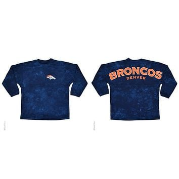 Denver Broncos Logo Tie Dye Sweeper Long Sleeve Oversized Top Shirt Jersey
