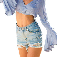 Blue V-neck Flared Sleeve Crop Top