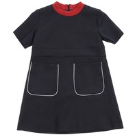 Marni Girls Navy Short-Sleeved Wool Dress