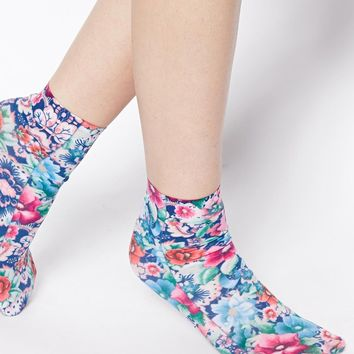 ASOS Pansy Floral Ankle Socks