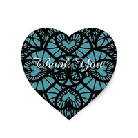 Thank You Sticker,Heart Black Blue Lace Sticker