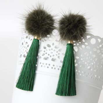 2016 Fashion Winter Vintage Pom Pom Earrings Royal Drop Long Tassel Brincos Fur Pendients Pure Color For Women