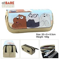 We Bare Bears Anime Purpose Cosmetic Bags Cases Stationery bags Zipper Student Pencil Case Bag/Office School Supplies