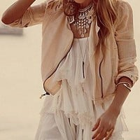 Free People  Cutouts In Linen Jacket at Free People Clothing Boutique