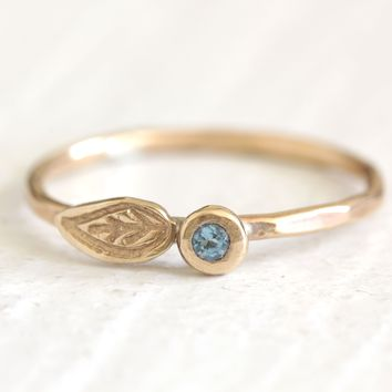 Solid 14k gold London Blue Topaz pebble and leaf ring