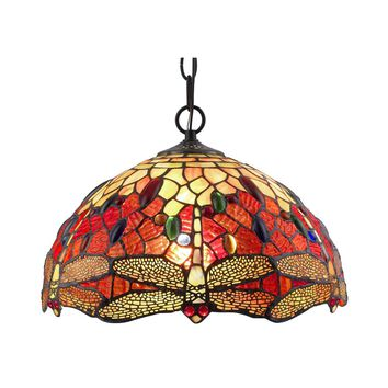 Amora Lighting Home Decorative AM1034HL14 Tiffany Style Dragonfly Hanging Lamp 2 light