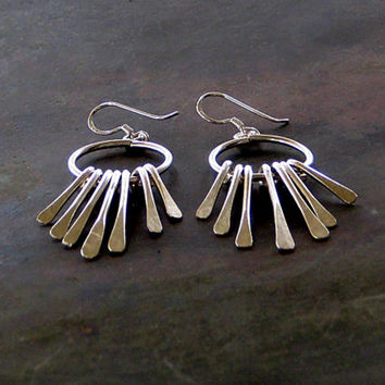 Free Dangle Sterling Silver Earring, Hoop and Feathers Earring, Bohemian Earrings, Sterling Silver Feathers, Modern Santorini Jewelry