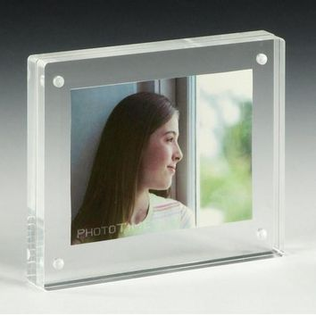 3.5 x 5 Magnetic Picture Frame for Tabletop, Double Sided Box - Clear Acrylic 19183