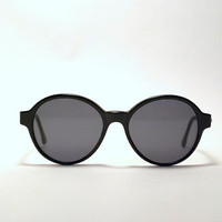 Vintage 80s Chunky Black Round INDO Brand Sunglasses-BOWIE Model-