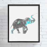Baby Elephant Nursery, Elephant Art Print, Watercolor Elephant, Baby Boy Nursery, Animal Wall Art, Kids Art, Childrens Art, Nursery Decor