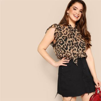 Plus Size Women Blouses Tied Neck Sexy Leopard Print Sheer Sleeveless Blouse Ruffle Trim Shoulder Thin Tops Blouses
