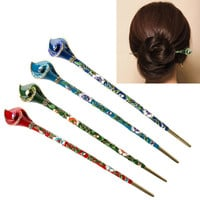 Chinoiserie Metal Hair Stick Rhinestone Hair Chopsticks Hairpin Chignon Pin Handmade