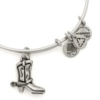 Alex and Ani Cowboy Boot Expandable Wire Bangle Russian Silver