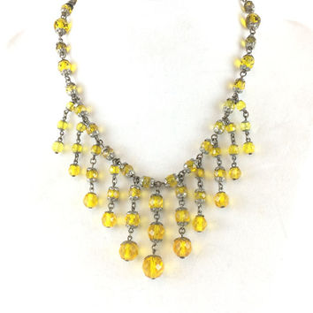 Vintage Yellow Crystal Fringe Necklace Art Deco Faceted Glass Beads Bib Choker Dangle Charm Necklace Antique Jewelry Estate Jewelry