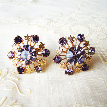 Vintage Screwback Earrings Amethyst Rhinestone Floral Burst