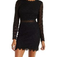 Black Lace and Mesh Midi Dress by Charlotte Russe