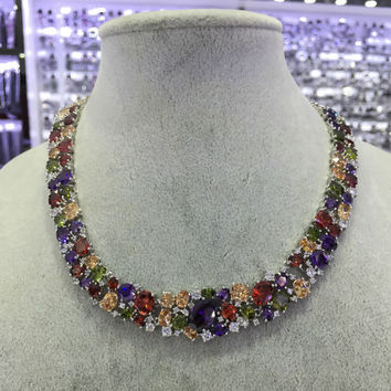 Multi Color Cz Necklace