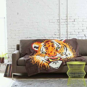 Chobopop For DENY Geometric Tiger Throw Blanket- Brown One
