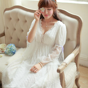 2016spring Elegant princess style dress vintage lace nightgown noble longwear High quality,Ankle-length V-nevk vestidos