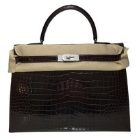 Extraordinary Hermes Kelly32 croc shiny bordeaux & diamond encrusted hardware