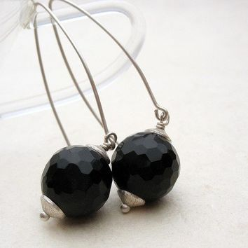 Dangle Earrings Big Black Onyx Globes Long by BacaCaraJewelry