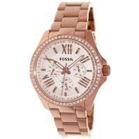 Fossil AM4483 Women's Cecile Crystal Bezel Rose Gold Dial Rose Gold Steel Bracelet Multifunction Watch