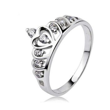 Fashion Tail Ring Sterling Silver 925 Austrian Crystal Crown Queen Princess Ring Valentine's Day Gift