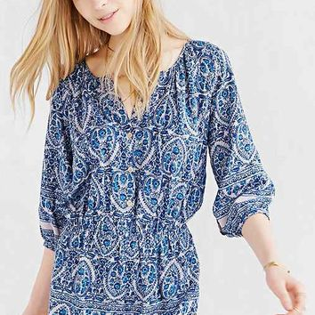 COPE Flowy Button-Front Romper- Blue Multi