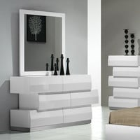 J&M Furniture Milan Dresser & Mirror in White Lacquer