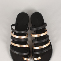 Dollhouse Two Tone Strappy Flat Sandal
